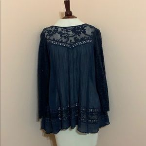 Free people sheer navy top